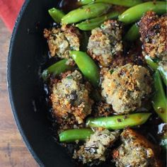 "Eggplant ""Meatballs"" and Sugar Snap Peas in a Toasted Sesame Sauce"