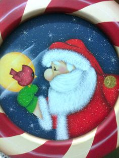Santa Paintings, Christmas Paintings, Pallet Painting, Tole Painting, Santa Crafts, Holiday Crafts, Christmas Rock, Christmas Ornaments, Pintura Country