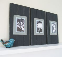 Set of Three Long Black Plank Frames for 4X6 by ProjectCottage