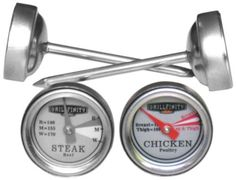 Grillfinity 570110 4-Piece Button BBQ Thermometer Set by Grillfinity. $13.69. Dial face has indication marks for rare medium and well done. Glass covers dial face. Shell and stem made from stainless steel. Easy clean up hand wash only. Four button-style gauges, 2 poultry and 2 beef. Grillfinity's button thermometer set includes 4 instant temperature gauges perfect to check you favorite barbecue. The set includes two poultry and two beef gauges. These are not made ...