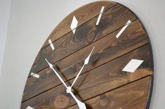 Handmade pine wall clock Minimalist Wall Clocks, Walnut Wood, Dark Walnut, Handmade Clocks, Pine Walls, Retro Clock, Wood Clocks, Dark Stains, White Paints