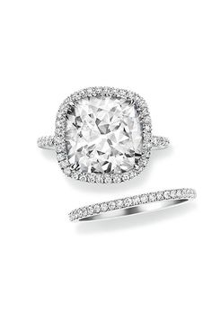 Brides.com: . Cushion-cut micropavé engagement ring, price upon request, Harry Winston