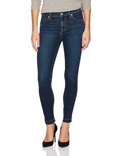 86 For All Mankind 7 for All Mankind Women's Skinny Dark Wash Jean Ankle Pant, Cali Blue, 30 Latest Fashion Trends, Fashion Brands, Stylish Jeans, Fashion Beauty, Womens Fashion, Dark Wash Jeans, Ankle Pants, Jeans Brands, Stretch Denim