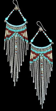 Tribal Styled Beaded Dangle Earrings from Peru