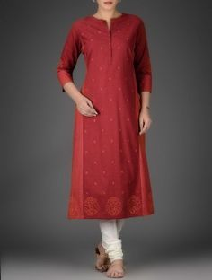 Red Round Neck Mangalgiri Cotton Kurta with Boota Embroidery