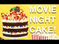 How To Cake… A MOVIE NIGHT CAKE! Root beer chocolate cake, vanilla buttercream, M&Ms and popcorn! - YouTube