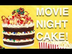 How To Cake… A MOVIE NIGHT CAKE! Root beer chocolate cake, vanilla buttercream, M&Ms and popcorn! #Baking #Dessert #Cakes