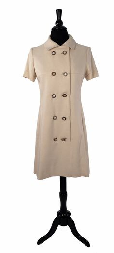 deff54a93001 1960's MOD Young Ideas Shift Dress, Jackie O Style, Ivory Every Day Coat  Dress, Double Breasted, Pearl Inlay Buttons, Chic Polished Workwear
