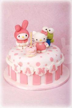 My Melody, Hello Kitty, & Keroppi #Sanrio #cake by The Bunny Baker