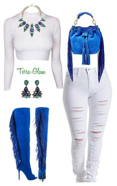 """""""Blue & White"""" by terra-glam ❤ liked on Polyvore featuring Privileged, B Brian Atwood, women's clothing, women, female, woman, misses and juniors"""