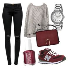 """burgundy fall"" by poli31 on Polyvore featuring J Brand, New Balance, Essie, Michael Kors and 3.1 Phillip Lim"