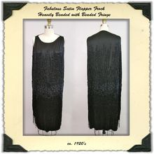 ca. 1920's Black Satin Beaded Flapper Dress