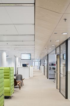 UPM Biofore House - Helin & Co Architects Office Floor, Wooden Windows, Houses Of Parliament, Office Buildings, Window Frames, Sound Proofing, Light Installation, Atrium, Working Area