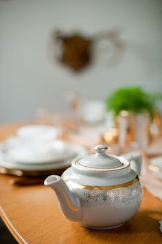 vintage grey and gold tea pot.