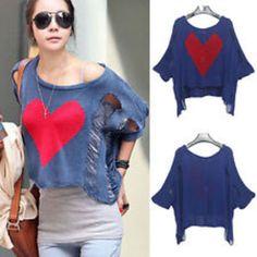hole hollow knit shirt sweater heart printed t-shirt tops
