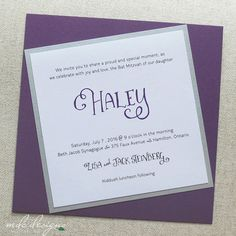 fun & whimsical purple bat mitzvah invitation