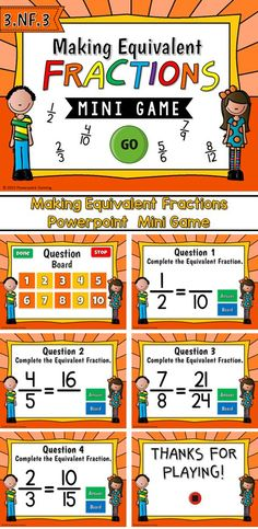 Engage students with this fun, interactive fractions game. Students make create equivalent fractions in the mini game. They must determine the missing number when given a fraction and its equivalent fraction with a missing numerator or denominator.