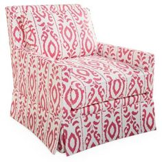 Check out this item at One Kings Lane! Lilla Skirted Swivel Chair, Pink