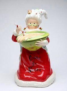 Cookie Jar Mrs. Claus Preparing Cookies Whimsical Cookie Jar