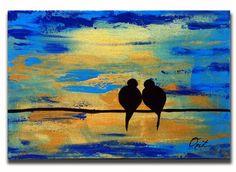 Original pintura amor aves pared arte cielo azul oro pesado Texutre empaste metálico mixto medios aves único de un regalo de boda de lona tipo