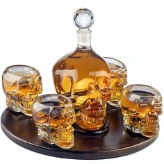 Large Skull Decanter with 4 Skull Shot Glasses, Round Wooden Tray. skull decanter set for whiskey, vodka, or other spirits. Whiskey Decanter, Whiskey Bottle, Shot Glass Set, Skull Shot Glass, Cigars And Whiskey, Fun Cocktails, Halloween Gifts, Spooky Halloween, Basement Bars