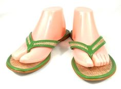 Ann Taylor Loft Flip Flops Green & Beige Leather Thongs Shoes Womens  9 B #AnnTaylorLoft #FlipFlops