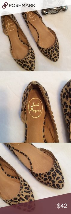Jack Rogers leopard flats SO CUTE Super cute pair of Jack Rogers leopard print flats, reposhing because they are too big and I am so sad. They are the cutest. As visible in pics there is a small defect in the stitching on one shoe, which after seeing in person I could hardly tell. these are adorable shoes. Jack Rogers Shoes Flats & Loafers
