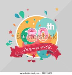 Color Full, 80 Anniversary Celebration, Ribbon, Low Poly, Design - stock vector