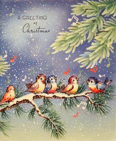 1940s Christmas card birds