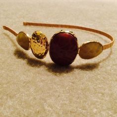 Tasha Gold Tone Headband Gold Head Band Taupe stones and one large muted Burgundy stoneNO TRADES NO HOLDS LOWBALL OFFERS WILL BE IGNORED Tasha Accessories Hair Accessories