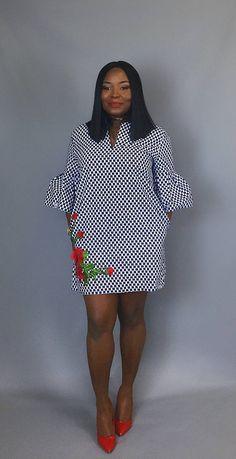 African print handmade shift dress floral dress Wax print