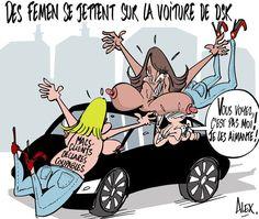 Mon dessin dans le @Courrier_picard du 11.02.2015 : Des #Femen se jettent sur la voiture de #DSK ! #CarltonLille