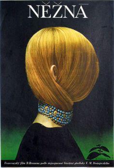 Poster by Olga Poláčková-Vyleťalová for Robert Bresson's Une Femme Douce