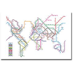 "Trademark Art ""World Map - Subway"" Canvas Wall Art by Michael Tompsett"