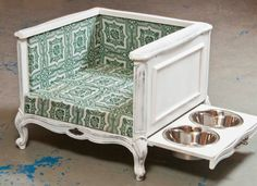 Love this dog bed.  They did a really great job converting it.  #puppied  PP:  Pet accessories made from vintage materials