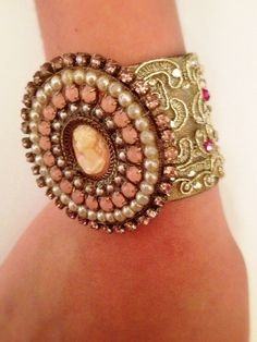 Romantic Bracelet pink and cream rainstone by RachelGefenDesigns, ₪350.00
