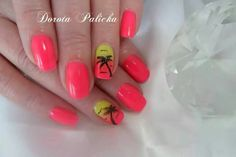 Summer nail art, palm trees and ombre nail design