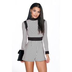 Boohoo Libby High Neck Stripe Playsuit ($35) ❤ liked on Polyvore featuring jumpsuits, rompers, multi, striped romper, playsuit romper, stripe romper, white rompers and white romper