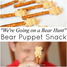 Puppets We're Going On A Bear Hunt Were Going on a Bear Hunt edible puppets. Great snack for cooking with Toddlers or Preschoolers.Were Going on a Bear Hunt edible puppets. Great snack for cooking with Toddlers or Preschoolers. Preschool Cooking Activities, Preschool Books, Preschool Activities, Preschool Classroom, Learning Activities, Classroom Ideas, Autism Classroom, Bears Preschool, Toddler Preschool