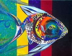 An online gallery of original fish art, abstract paintings, modern art, drawings and prints. The official website and artwork of J. Sea Life Art, Watercolor Fish, Organic Art, Fish Patterns, Colorful Fish, Fish Art, Beach Art, Large Art, Fabric Painting