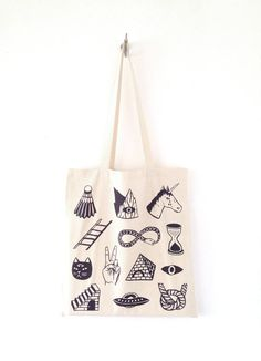 STRANGE DAYS  Screen Printed Canvas Tote Bag by triangletrees