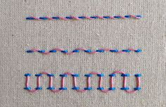 Deshilachado: Puntos de bordado: bastilla / Embroidery stitches: laced running stitch