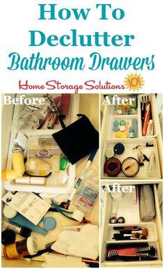 Before and after photos showing how to declutter bathroom drawers to get them organized and functional {featured on Home Storage Solutions 101}