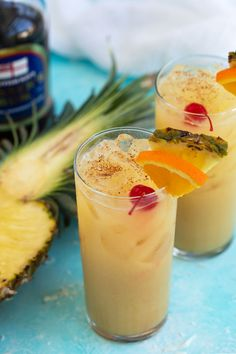 Painkiller Cocktail - A rich and fruity tropical drink with dark rum, pineapple juice, orange juice, cream of coconut and ground nutmeg. A rich and fruity tropical cocktail that's always a crowd-pleaser! Refreshing Cocktails, Summer Cocktails, Cocktail Drinks, Dark Rum Cocktails, Rum Cocktail Recipes, Classic Cocktails, Liquor Drinks, Fun Drinks, Drinks With Rum