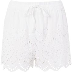 Topshop Petite Cutwork Broderie Shorts (€30) ❤ liked on Polyvore featuring shorts, white, white scalloped shorts, topshop shorts, embroidered shorts, scallop hem shorts and white shorts