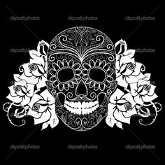 Skull-and-roses-black-and-white-Day-of-the-Dead