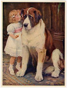Vintage Arthur J. Elsley Victorian Art Print St. Bernard Private & Confidential #Victorian