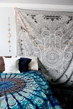 Sweet Dreams ☽ ✩ Lady Scorpio Mandala Tapestries + Moon Star Wall Hangings ✩ Save 25% off all orders with code PINTERESTXO at checkout   Bohemian Bedroom by Lady Scorpio   Shop Now LadyScorpio101.com   Photography by @Luna8lue   @LadyScorpio101