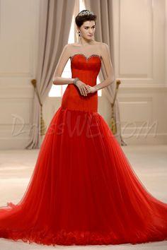 素晴らしいチャペルウェディングドレス トランペット/マーメイド スウィートハート 床長  フリル 10536496 - ウェディングドレス2014 - Dresswe.Com