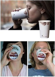 // Packaging #cup #nose #teeth #advertising #packaging